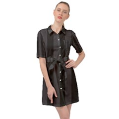Black Stripes Belted Shirt Dress