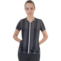 Black Stripes Short Sleeve Zip Up Jacket