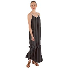 Black Stripes Cami Maxi Ruffle Chiffon Dress