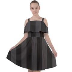 Black Stripes Cut Out Shoulders Chiffon Dress