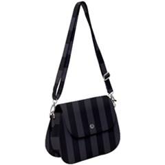 Black Stripes Saddle Handbag