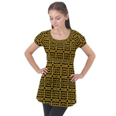 Df Unrest Vibe Puff Sleeve Tunic Top by deformigo