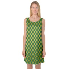 Df Green Domino Sleeveless Satin Nightdress by deformigo