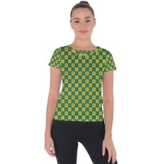 Df Green Domino Short Sleeve Sports Top  by deformigo