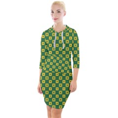Df Green Domino Quarter Sleeve Hood Bodycon Dress by deformigo