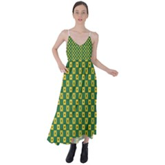 Df Green Domino Tie Back Maxi Dress