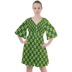 Df Green Domino Boho Button Up Dress by deformigo