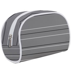 Black Grey White Stripes Makeup Case (large)