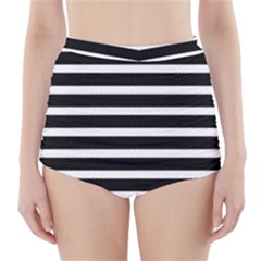 Black & White Stripes High-waisted Bikini Bottoms by anthromahe