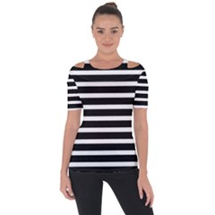 Black & White Stripes Shoulder Cut Out Short Sleeve Top by anthromahe