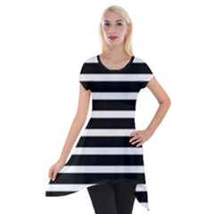 Black & White Stripes Short Sleeve Side Drop Tunic by anthromahe
