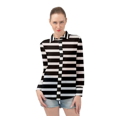 Black & White Stripes Long Sleeve Chiffon Shirt by anthromahe