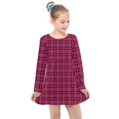 Df Ricky Purplish Kids  Long Sleeve Dress