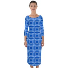 Df Blue Woollister Quarter Sleeve Midi Bodycon Dress by deformigo