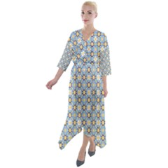 Df Norbert Pastel Quarter Sleeve Wrap Front Maxi Dress by deformigo