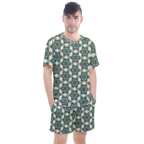 Df Tomomi Nao Men s Mesh Tee And Shorts Set by deformigo