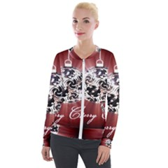 Merry Christmas Ornamental Velour Zip Up Jacket by christmastore