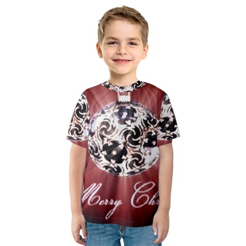 Merry Christmas Ornamental Kids  Sport Mesh Tee by christmastore