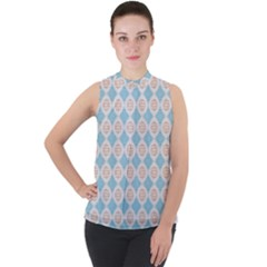 Df Perpetuum Mock Neck Chiffon Sleeveless Top by deformigo