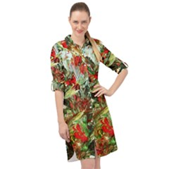 Eden Garden 1 3 Long Sleeve Mini Shirt Dress