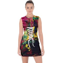 856844 285373768290282 306706818924119662 O Lace Up Front Bodycon Dress