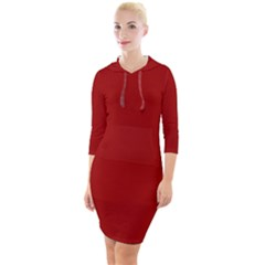 Red Quarter Sleeve Hood Bodycon Dress
