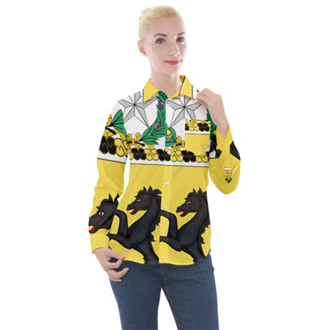 Coat Of Arms Of United States Army 112th Cavalry Regiment Women s Long Sleeve Pocket Shirt by abbeyz71