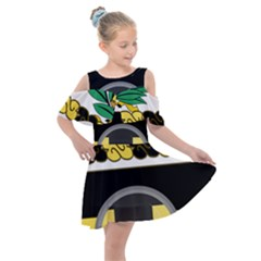 Coat Of Arms Of United States Army 136th Military Police Battalion Kids  Shoulder Cutout Chiffon Dress