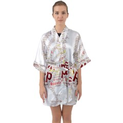 Fighting Golden Rooster  Half Sleeve Satin Kimono  by Pantherworld143