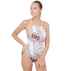 Fighting Golden Rooster  High Neck One Piece Swimsuit