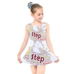 Fighting Golden Rooster  Kids  Skater Dress Swimsuit