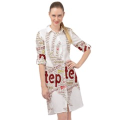 Fighting Golden Rooster  Long Sleeve Mini Shirt Dress