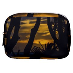 Silhouette Sunset Landscape Scene, Montevideo   Uruguay Make Up Pouch (small) by dflcprints