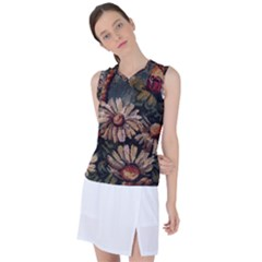 Old Embroidery 1 1 Women s Sleeveless Sports Top