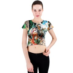 Lilies In A Vase 1 2 Crew Neck Crop Top by bestdesignintheworld