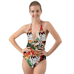 Lilies In A Vase 1 4 Halter Cut-out One Piece Swimsuit by bestdesignintheworld