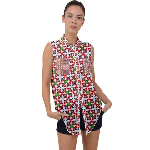 Df Molla Sleeveless Chiffon Button Shirt by deformigo