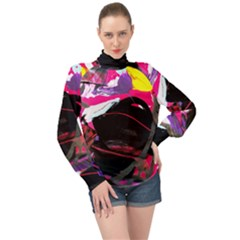 Consolation 1 1 High Neck Long Sleeve Chiffon Top