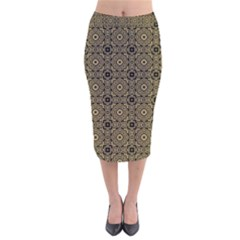 Df Tobacco Field Velvet Midi Pencil Skirt by deformigo