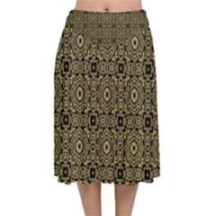 Df Tobacco Field Velvet Flared Midi Skirt by deformigo