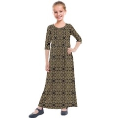 Df Tobacco Field Kids  Quarter Sleeve Maxi Dress by deformigo