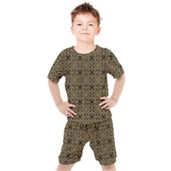 Df Tobacco Field Kids  Tee And Shorts Set by deformigo