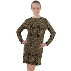 Df Tobacco Field Long Sleeve Hoodie Dress by deformigo