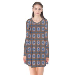 Df Merrival Long Sleeve V-neck Flare Dress by deformigo