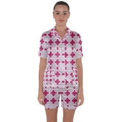 Df Hazel Conins Satin Short Sleeve Pyjamas Set by deformigo