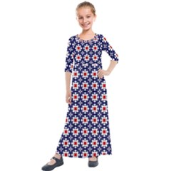 Df Batticalloa Kids  Quarter Sleeve Maxi Dress by deformigo