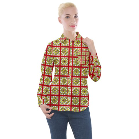 Df Hackberry Grid Women s Long Sleeve Pocket Shirt by deformigo