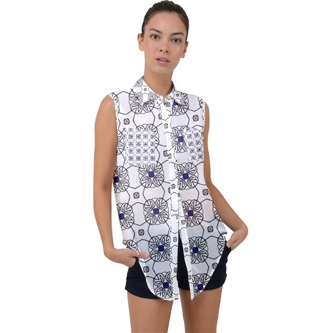 Df Snowland Sleeveless Chiffon Button Shirt by deformigo