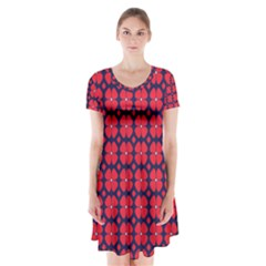 Df Clematis Short Sleeve V-neck Flare Dress by deformigo