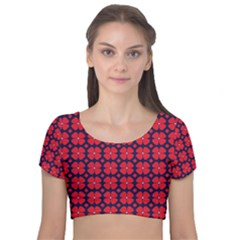 Df Clematis Velvet Short Sleeve Crop Top  by deformigo